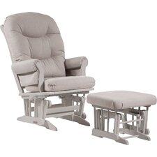 Sleigh Multiposition Recline Glider, Plush Cushion & Nursing Ottoman in White