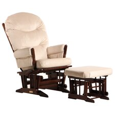 Two Post Multiposition Recline Glider with Plush Cushion & Ottoman
