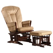 Two Post Multiposition Recline Glider with V Cushion & Ottoman