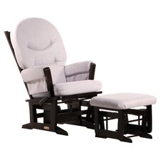 Modern Multiposition Recline Glider with Rounded Cushion & Nursing Ottoman