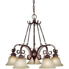 <strong>Forte Lighting</strong> 5 Light Chandelier with Umber Mist Glass Shades