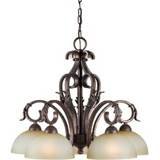 <strong>Forte Lighting</strong> 5 Light Chandelier with Umber Mist Shades