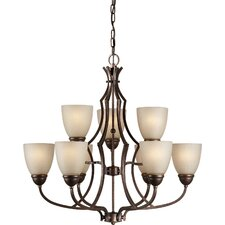 <strong>Forte Lighting</strong> 9 Light Chandelier with Umber Linen Glass Shade