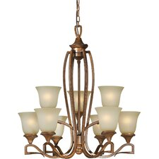 <strong>Forte Lighting</strong> 9 Light Chandelier with Umber Mist Glass Shades