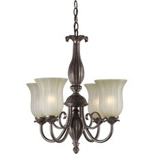 <strong>Forte Lighting</strong> 4 Light Chandelier with Umber Mist Shades