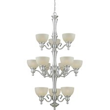 <strong>Forte Lighting</strong> 12 Light Chandelier with Umber Linen Glass Shades