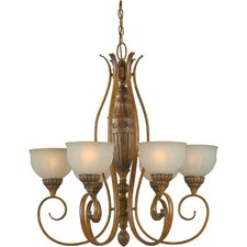 <strong>Forte Lighting</strong> 6 Light Chandelier with Patterned Glass Shades