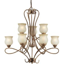 <strong>Forte Lighting</strong> 9 Light Chandelier with Umber Shades