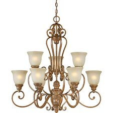 <strong>Forte Lighting</strong> 9 Light Chandelier with Umber Mist Shades