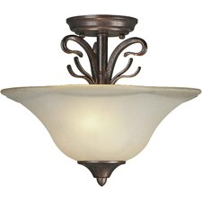 <strong>Forte Lighting</strong> 2 Light Semi Flush Mount - Steel