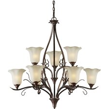 <strong>Forte Lighting</strong> 9 Light Chandelier with Umber Glass Shade