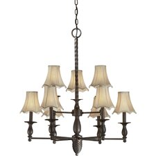 <strong>Forte Lighting</strong> 9 Light Chandelier with Fabric Shades