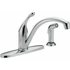 Collins Single Handle Centerset Arched Kitchen Faucet with Spray and Diamond Seal Technology