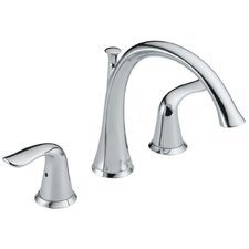 <strong>Delta</strong> Lahara Double Handle Deck Mount Roman Tub Faucet Lever Handle
