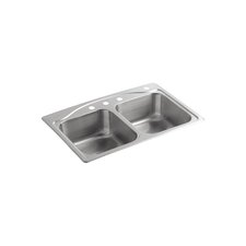 "<strong>Kohler</strong> Cadence 33"" x 22"" Top-Mount Double-Equal Kitchen Sink with 4 Faucet Holes"