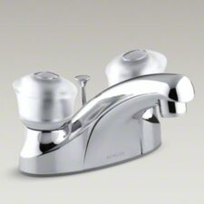 Coralais Centerset Lavatory Faucet with Sculptured Acrylic Handle and Plastic Drain