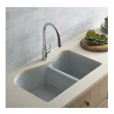 "Lawnfield 33"" X 22"" X 9-5/8"" Under-Mount Large/Medium Double-Bowl Kitchen Sink with 4 Oversize Faucet Holes"