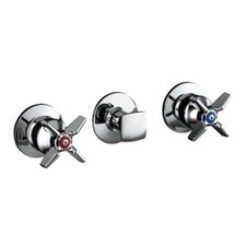 Triton Three-Handle Wall-Mount Valve Trim with Cross Handles, Valve Not Included