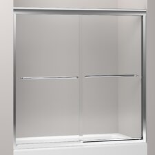 "Fluence Sliding Bath Door, 58-5/16"" H X 56-5/8 - 59-5/8"" W, with 1/4"" Thick Crystal Clear Glass"