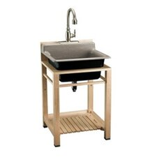 Bayview Wood Stand Utility Sink with Three-Hole Faucet Drilling On Top Of Backsplash