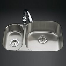 "<strong>Kohler</strong> Undertone 30-3/4"" X 20-1/8"" X 9-5/8"" Under-Mount High/Low Double Rounded Bowl Kitchen Sink"