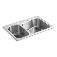 "<strong>Kohler</strong> Staccato 33"" X 22"" X 8-5/16"" Top-Mount Large/Medium Double-Bowl Kitchen Sink with 3 Faucet Holes"