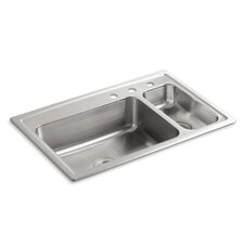 "<strong>Kohler</strong> Toccata 33"" X 22"" X 7-11/16"" Top-Mount High/Low Double-Bowl Kitchen Sink with Disposal Bowl and 3 Faucet Holes on The Right"