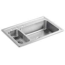 "Toccata 33"" X 22"" X 7-11/16"" Top-Mount High/Low Double-Bowl Kitchen Sink with Disposal Bowl and 3 Faucet Holes on The Left"
