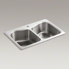 "Staccato 33"" X 22"" X 8-5/16"" Top-Mount Double-Equal Bowl Kitchen Sink with Single Faucet Hole"