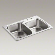 "<strong>Kohler</strong> Verse 33"" X 22"" X 8-1/4"" Top-Mount Large/Medium Double-Bowl Kitchen Sink with 3 Faucet Holes"