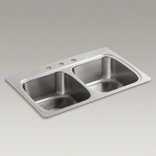 "<strong>Kohler</strong> Verse 33"" X 22"" X 8-1/4"" Top-Mount Double-Equal Bowl Kitchen Sink with 3 Faucet Holes"