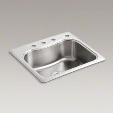 "Staccato 25"" X 22"" X 8-5/16"" Top-Mount Single-Bowl Kitchen Sink with 4 Faucet Holes"