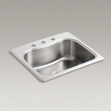 "<strong>Kohler</strong> Staccato 25"" X 22"" X 8-5/16"" Top-Mount Single-Bowl Kitchen Sink with 3 Faucet Holes"