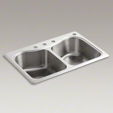 "Staccato 33"" X 22"" X 8-5/16"" Top-Mount Double-Equal Bowl Kitchen Sink with 4 Faucet Holes"