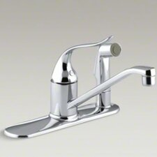 "Coralais Single-Control Kitchen Faucet with Sidespray Through Escutcheon and 8-1/2"" Swing Spout"