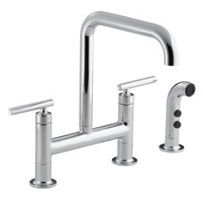 <strong>Kohler</strong> Purist Deck-Mount Bridge Faucet with Sidespray