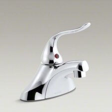 "Coralais Single-Control Centerset Lavatory Faucet with Ground Joints, 0.5 GPM Spray, Grid Drain and 5"" Lever Handle"