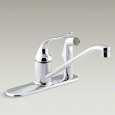 "<strong>Kohler</strong> Coralais Single-Control Kitchen Faucet with 10"" Spout, Color-Matched Sidespray Through Escutcheon, Ground Joints and Lever Handle"
