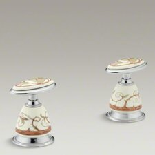 <strong>Kohler</strong> Antique Briar Rose Ceramic Handle Insets and Skirts for Bath Faucets