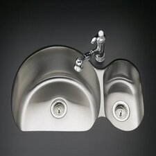 "Undertone 35"" Double Basin Under-Mount 18-Gauge Right Side Rounded Kitchen Sink with SilentShield"