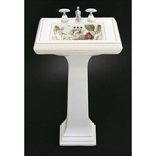 Crimson Topaz Design on Memoirs Pedestal Lavatory with Classic Design and White Pedestal
