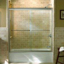"Fluence Sliding Bath Door, 55-3/4"" H X 54 - 57"" W, with 1/4"" Thick Crystal Clear Glass"