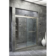 "Fluence 70.3125"" H X 56.625"" - 59.625"" W Sliding Shower Door with 0.375"" Crystal Clear Glass"