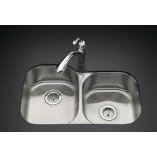 "Undertone 31-1/2"" X 20-7/8"" X 7-5/8"" Under-Mount Large/Medium Rounded Double-Bowl Kitchen Sink with Medium Bowl On The Right"