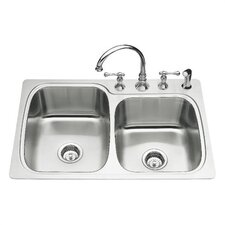 "<strong>Kohler</strong> Verse 33"" X 22"" X 8-1/4"" Top-Mount Large/Medium Double-Bowl Kitchen Sink with 4 Faucet Holes"