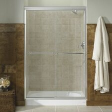 "Fluence 59.63"" W x 70.31"" H Sliding Shower Door with 0.25"" Falling Lines Glass"