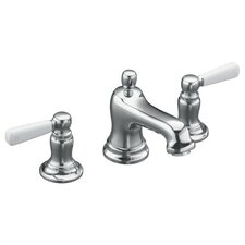 Bancroft Widespread Lavatory Faucet with White Ceramic Lever Handles