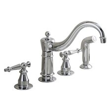 Antique Kitchen Faucet with Sidespray and Lever Handles