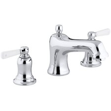 Bancroft Bath- Or Deck-Mount High-Flow Bath Faucet Trim with White Ceramic Lever Handles, Valve Not Included