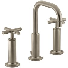 Purist Widespread Lavatory Faucet with Low Gooseneck Spout and High Cross Handles